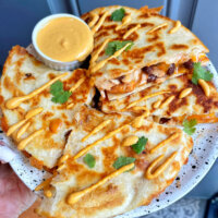 Quesadilla with queso dip